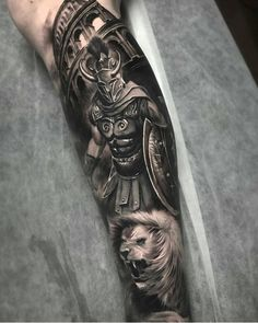 Mostly healed gladiator piece with fresh whites and background/colosseum Warrior Tattoo Sleeve, Lion Tattoo Sleeves, Armor Tattoo, Warrior Tattoos, Full Sleeve Tattoos, Viking Tattoos, Tattoo Sleeve Designs, Forearm Tattoo Men, Angel Warrior Tattoo