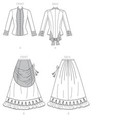 Butterick Sewing Pattern Victorian Top And Drape Front Skirt