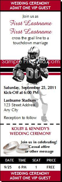 Football Wedding Ticket Invitations from Print Villa...personalized just for you!