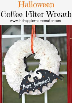 such a cute and easy wreath for Halloween, full tutorial on this site-coffee filter wreath