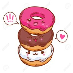 Group of three cute kawaii donuts. Good for t-shirt design. Group of three cute kawaii donuts. Good for t-shirt design.
