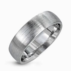 Uncomplicated but sophisticated, this classic men's wedding band features a broad design in elegant brushed platinum that will stand the test of time. Print Page