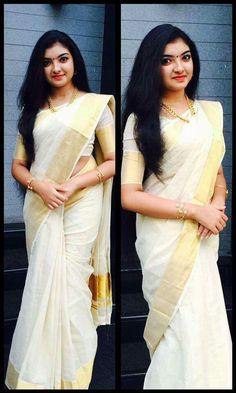 White saree with golden border