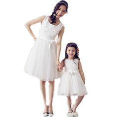 Vestidos madre hija 2016 nueva marca juego de madre e hija ropa encaje sólido madre e hija vestidos vestidos vestido Formal de malla(China (Mainland))