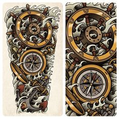 Jonathan Davies commissioned me to design this ship wheel, compass and anchor…