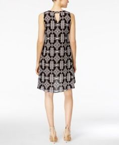 Ny Collection Petite Printed High-Low Shift Dress - Black P/XS