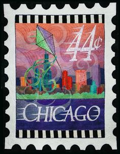 The Windy City.  Chicago stamp quilt by Debra Gabel at Zebra Patterns