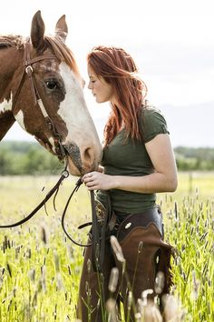 <3 Cowgirl and Horse Photograph Red by Gary Bremner