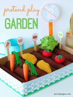 Easy DIY Pretend Play Vegetable Garden for learning and fun in preschool!