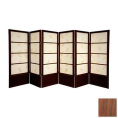 Oriental Furniture 6-Panel Black Folding Indoor Privacy Screen ...