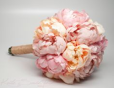 Wedding Bouquet Pink and Peach Peony Bouquet Rustic Shabby Chic Wedding Bouquet by Kate Said Yes
