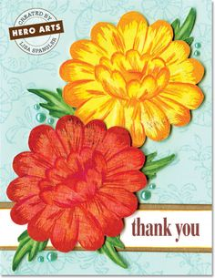 Create a striking thank you card featuring vibrant Bold Blooms by Lisa Spangler - Scrapbook.com