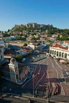The lively Monastiraki, under the striking Acropolis, is known for iconic landmarks including the Hadrian's Library, the Ancient Agora and the Stoa of Attalos. Attica Greece, Athens Greece, Places Around The World, Around The Worlds, Travel Sights, Travel Destinations, Greece Travel, Greece Vacation, Acropolis