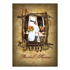 western  cowboy bridal shower photo invitation