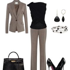 Like the cut of the pants and top (minus the shoulder embellishments) disregard blazer shoes and accessories