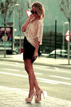 sparkly sweater over a nice dress. super cute way to keep warm in the evenings