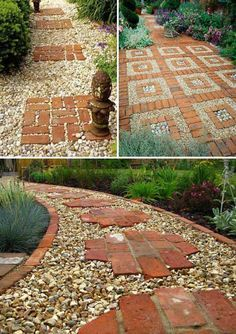 #8. Put great red bricks over a gravel path. Lay a Stepping Stones and Path Combo to Update Your Landscape