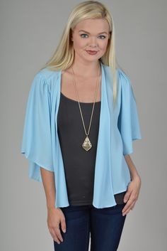Blue Solid Loose Fit Kimono Top
