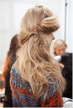 messy hair. fishtail.