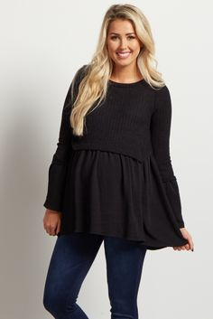 Keep your wardrobe looking new and chic with this cute peplum maternity top! The cropped soft knit material and flowy peplum cut will show off your beautiful figure while keeping you comfortable all day long. Style this top with your favorite maternity jeans and booties for a trendy, stylish outfit.