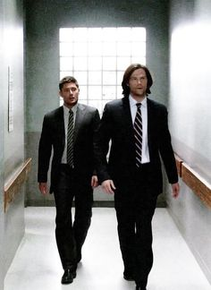 "Men In Suits--Sam and Dean #Supernatural I wonder if they ever think ""Hey, what the gates of Hell are closed for good. We should be FBI agents..."""