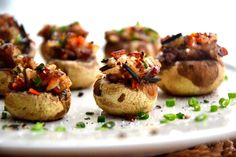 Pine nut stuffed mushrooms. With quinoa. Vegan/GF. Perfect for a little dinner party