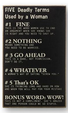 Five Deadly Terms Used by a Woman Wall Art <3 haha Love it!