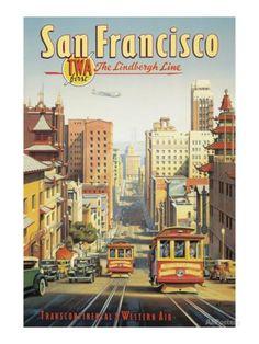 Ligne Lindbergh- San Francisco, Californie Impression giclée par Kerne Erickson sur AllPosters.fr