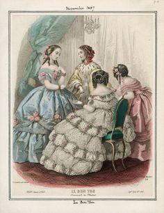 Victorian Era Fashion, 1850s Fashion, Vintage Fashion, Victorian Costume, Civil War Fashion, Civil War Dress, Fashion Illustration Vintage, 19th Century Fashion, Historical Costume