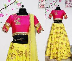 Pink yellow Pretty pretty crop top wht say pepl !!! jhumka colourful couture ethnic southindianbride elegant sonyfashion jubileehills To place order:-Mail us at:-sonyreddy24@gmail.comCall or whts app :-8008100885 22 November 2016