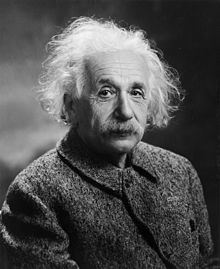 "Albert Einstein (14 March 1879 – 18 April 1955) was a German-born theoretical physicist who developed the theory of relativity, one of the two pillars of modern physics. His work is also known for its influence on the philosophy of science. He is best known by the general public for his mass–energy equivalence formula E = mc2 ""the world's most famous equation"")."