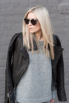 cat eye. leather jacket