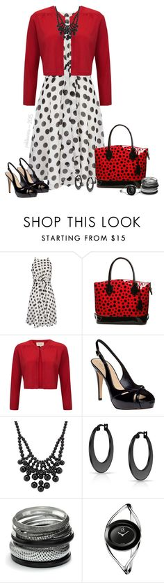 """White & Black Polka Dot Dress with Red Cropped Cardigan"" by pwhiteaurora ❤ liked on Polyvore featuring moda, Wallis, Havren, Kate Spade, Bling Jewelry, Sonoma life + style, Calvin Klein, white, black y red"