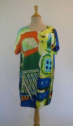 Diane Von Furstenberg Pop Art Silk Dress - Vintage Designer Dress - 1980s Dress - DVF - Bust 96 cm