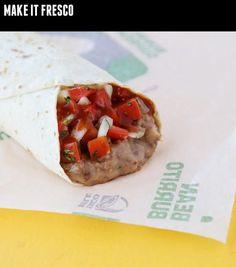 Bean burrito, get it fresco. Because vegans need their Taco Bell fix … - Vegan Fast Food Vegan Desserts, Raw Food Recipes, Snack Recipes, Food Tips, Cinnamon Twists Taco Bell, Supreme Tacos, Chicken Chalupa, Vegan Fast Food, Soft Tacos