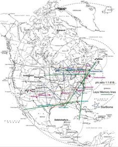 """A fairly accurate map of know North American Ley Lines . The lines near Duluth MN. were the first I connected with , It scared me half to death, I had no idea what I was yet . The major line running through Chippewa Falls WI is so powerful I have to keep myself closed to it when I'm in or near the river """"the line lays on a convergence of three major rivers"""" , or I become faint . It's also the reason for the rather large Witch population here. :)"""
