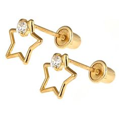 39.99 Star Screw Back Earrings for Girls with CZ Accent in 14KT Yellow Gold
