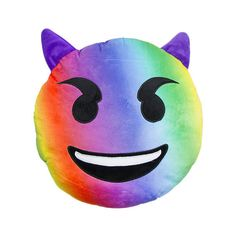 RAINBOW DEVIL EMOJI PILLOW (165 DKK) ❤ liked on Polyvore featuring home, home decor and throw pillows