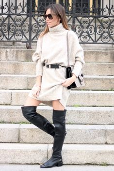 Jersey: Minimum. Botas/boots: Zara. Bolso/bag: Gucci. Gafas de sol/sunnies: Anine Bing.
