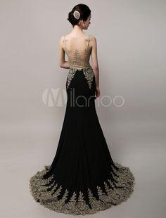 Deslumbrante preto casamento vestido vestido de noite Applique dourado do Chiffon sereia ilusão corpete tribunal trem - Milanoo.com