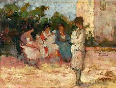 Theofrastos Triantafyllidis Nannies in the park x 30 cm) Home Crafts, Arts And Crafts, Greece Painting, Art In The Park, Landscape, Image, Greek, Artists, Paintings
