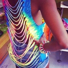t-shirt tank top tye dye slash ripped summer destroyed colorful color shirt bracelets colours colourful open back funky style fashionable fashion blue yellow pink purple dip dyed white tank top summer outfits rainbow tie dye swim cover up muscle tee blouse cut out