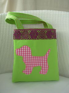 Handmade Little Girls Tote Bag - Lime and Pink | eBay