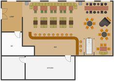 Cafe and Restaurant Floor Plans Restaurant Floor Plan, Deco Restaurant, Restaurant Design, Small Restaurants, Small House Plans, Building Plans, Bakery, Arch, Floor Plans