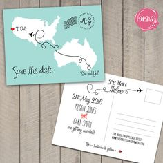 Destination Wedding Save the Date Postcard Travel by WeDoInvites