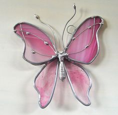 Rose Petals Butterfly  Stained Glass Suncatcher