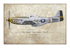 Double Trouble Two P-51D Mustang - Map Art Print by Craig Tinder - 36 x 24.5 / Archival Matte Paper