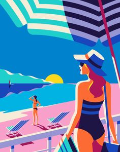 A beautiful beach setting illustrated by Malika Favre for the Kuoni France 2016 brochure.