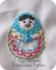 Egg Sampler Embroidery Pattern.