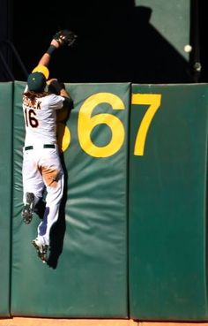 Amazing baseball catch on the wall by Josh Reddick July Lets get em reddick! American League, World Of Sports, Athletics, Green And Gold, Rally, My Boys, Mlb, Cool Pictures, Survival